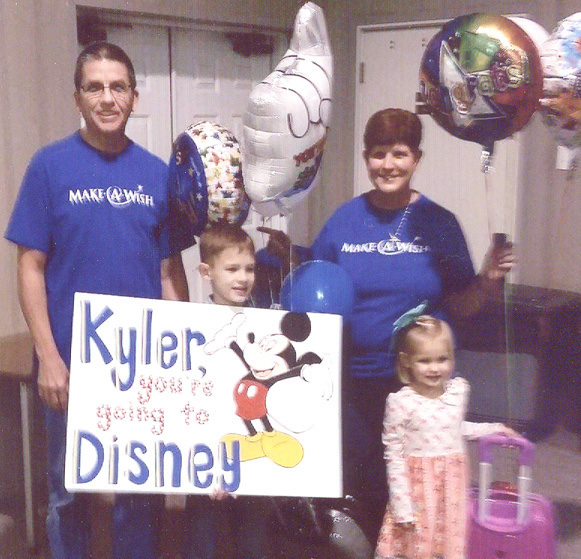 Kyler Bebber, age 8 of Taylorsville, has been awarded a trip to Disney World by the Make-A-Wish Foundation. Pictured above: Kyler and his sister,