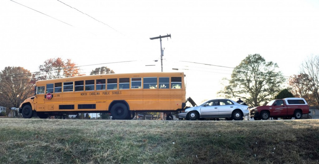 Alexander County Schools Bus 198 was rear-ended on Fri. Nov. 18, on NC 90 East at Davis Auto Drive. No injuries were reported.