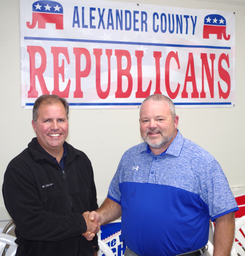 G.O.P. KEEPS COMMISSION — Republican County Commission candidates Ryan Mayberry (left) and Jeffrey Peal (right) congratulate each other on Tuesday, November 8.