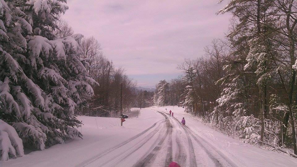 Hemphill girls walking in the snow on Barrett Mountain. By Jessica Hemphill.