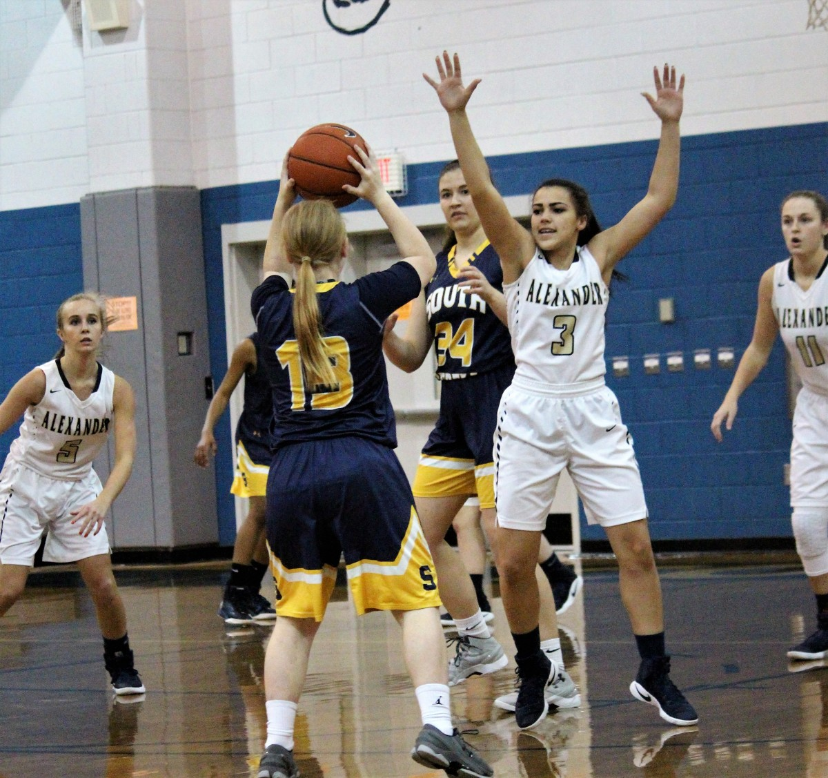 Senior Alexis Anthony defends against a South Iredell player Friday night.