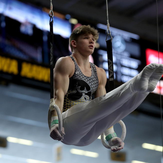 HAWKEYE STAR - Iowa's Stewart Brown competes on the Rings against UIC and Minnesota Saturday, February 1, 2020 at Carver-Hawkeye Arena.  (Brian Ray/Hawkeyesports.com)