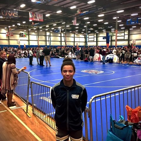Alysha Earley became the first ACHS female wrestler to compete in the Women's Invitational Championship this past weekend.