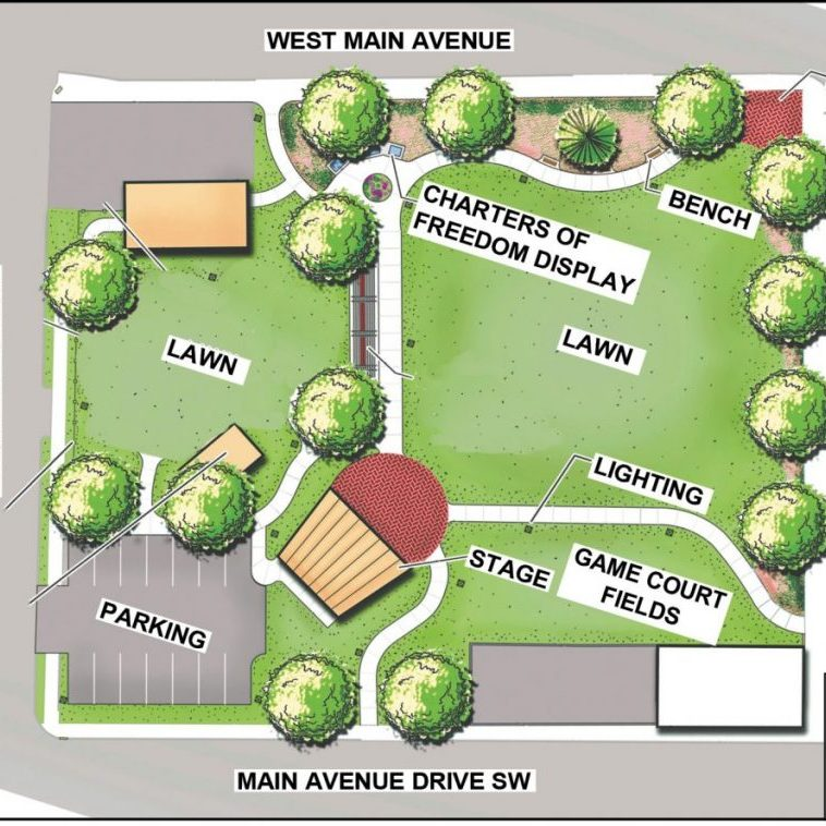 COURTHOUSE PARK PLANS — This drawing for shows proposed amenities at Alexander Courthouse Park. The courthouse is not shown but is situated to the east (the right side). A splash pad and playground are no longer proposed for the park.