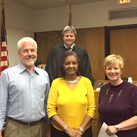 THREE BECOME GUARDIAN AD LITEM VOLUNTEERS — On Tuesday, May 15, 2018, three Iredell and Alexander residents, Michael Dublin, Barbara Mayes, and Nancy Curley were sworn in by Judge Edward Hedrick IV to be Guardian ad Litem volunteers, promising to advocate for abused and neglected children in Forsyth County.