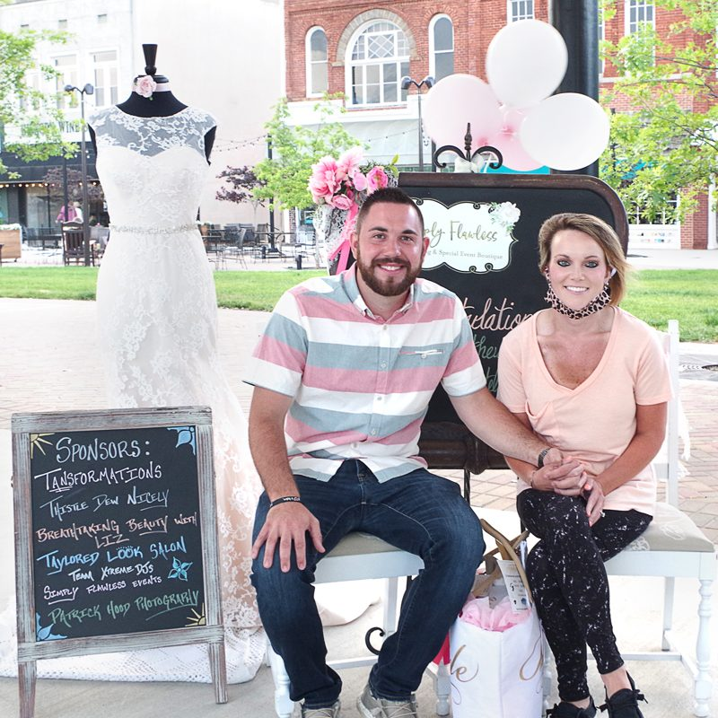 OVERCOMING — Initially, Katelyn Lambert (right) was winner of a half-price promotion on a wedding dress at Simply Flawless Wedding Boutique in Hickory. However, the store owner and other vendors have teamed up to provide the deserving bride many services for a wonderful wedding day. Lambert is shown with her fiancé, Matthew McKinney.