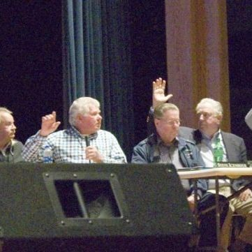 MAJORITY VOTE AGAINST RECOMMENDING GUN RANGE -- On Thursday, January 10, 2019, at Alexander Central Auditorium, the Alexander County/Taylorsville Planning and Zoning Commission voted 7-2 against recommending the Conditional Use Permit 18-2, to operate an outdoor shooting range on the property on Teague Town Road near Church Rd. Pictured above, left to right: P&Z Commission members Bud Caywood, Dawn Shealy, Don Harrington, Chairman Coy Reese, Steve Icenhour, Sam Davis, Matthew Schrum, Dana Benfield, and Sallie Hartis.