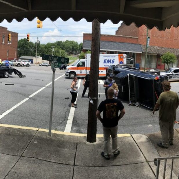 Panoramic photo of the crash scene on Main Ave. at Center Street about 12:50 p.m. July 1, 2020.