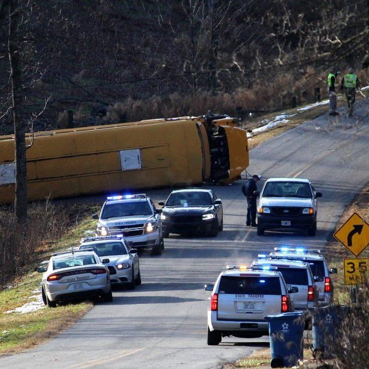 This photo shows the scene of the school bus crash on Dec. 17 on Icard Ridge Road.