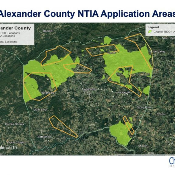 CHARTER TO EXPAND BROADBAND INTERNET — Charter Communications plans to use two types of Federal grant monies to expand high speed Internet offerings to rural parts of Alexander County in the areas shaded in light green and in yellow outline boxes, above.
