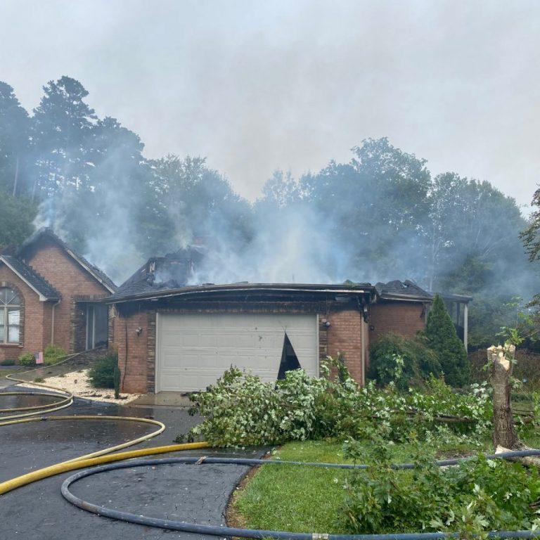 Scene of house fire in the Oliver's Landing subdivision, September 16, 2020.